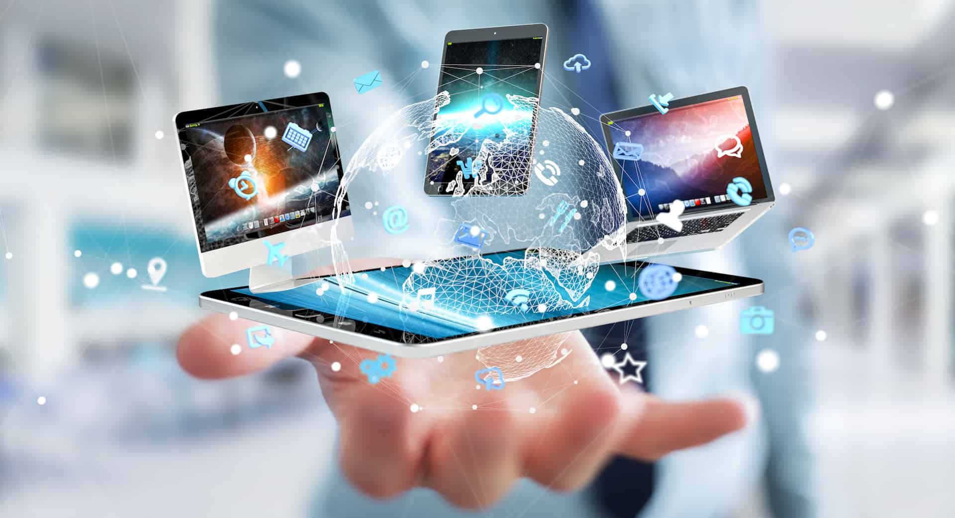 Businessman on blurred background connecting tech devices 3D rendering